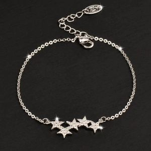 Jewelry - Delicate Micro Pave Silver Crystal Star Bracelet